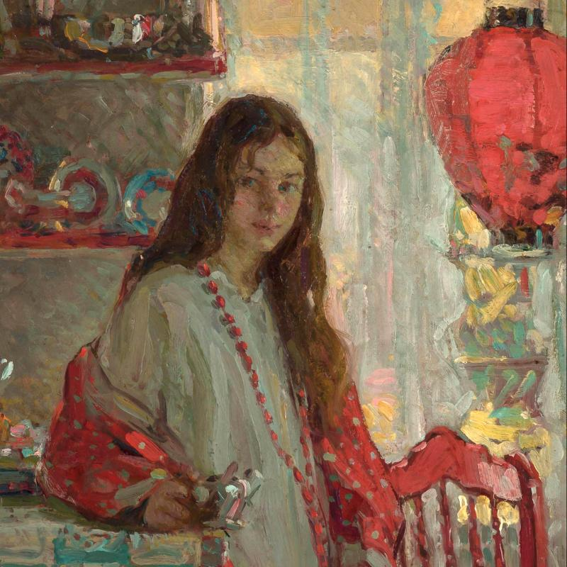 Girl in Interior with a Chinese Lantern