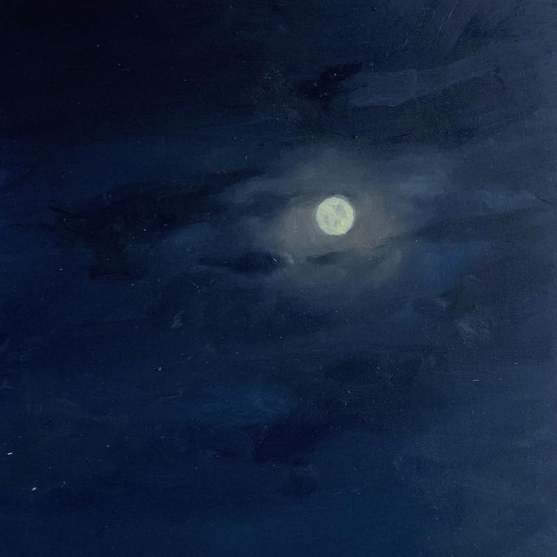 Painting of the Moon at Night