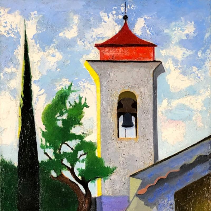 Modernist Painting of Bell Tower