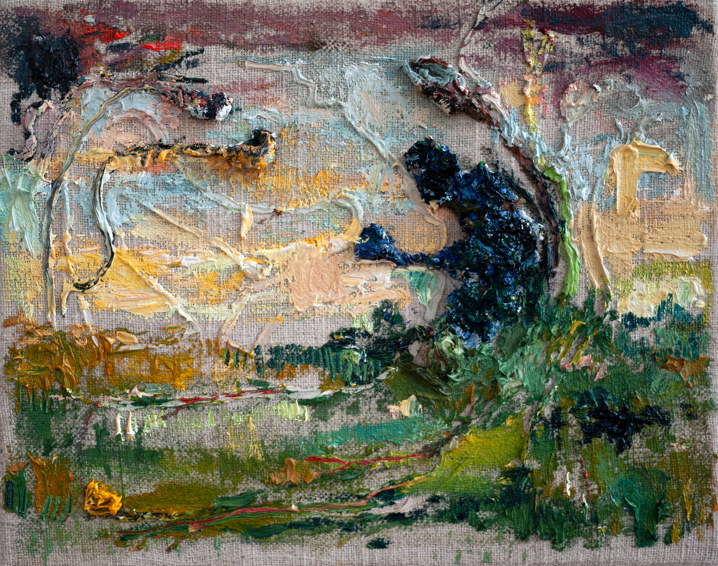 Primitive figure in abstracted landscape